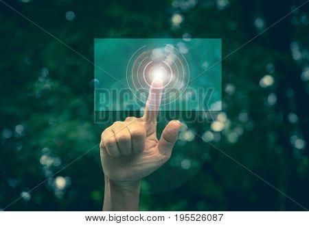 Hand click on virtual touchscreen button. Hand pressing modern buttons. Man hands pressing virtual screens technology concept.