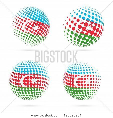 Azerbaijan Halftone Flag Set Patriotic Vector Design. 3D Halftone Sphere In Azerbaijan National Flag