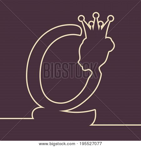 Vintage queen silhouette. Medieval queen profile. Elegant outline silhouette of a female head. Vector Illustration. Bun hairstyle. Monochrome gamma. Royal emblem with Q letter