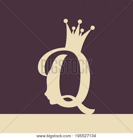 Vintage queen silhouette. Medieval queen profile. Elegant outline silhouette of a female head. Vector Illustration. Royal emblem with Q letter