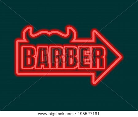 Vintage barber shop emblem or label. Monochrome linear style. Mustache icon with arrow and text. Neon bulb illumination