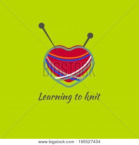 Logo ball of wool yarn in heart shape with spokes. Icon master class on knitting. Vector illustration