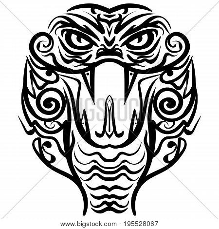 Cobra head sketch tattoo. Patterned colored head of the King Cobra. African indian tattoo design.