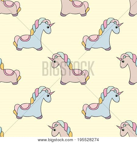 Unicorn. Vector seamless pattern with unicorns. Colorful cute design for the design and design of children's textiles clothing wallpaper covers packaging and wrapping paper and other surfaces