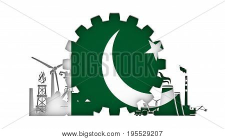 Energy and Power icons set with flag of the Pakistan. Sustainable energy generation and heavy industry. 3D rendering.