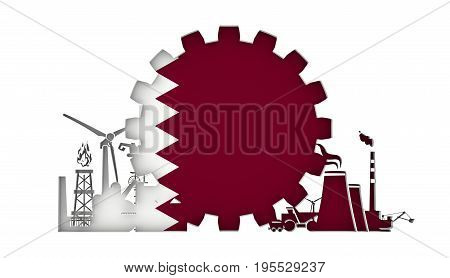 Energy and Power icons set with flag of the Qatar. Sustainable energy generation and heavy industry. 3D rendering.