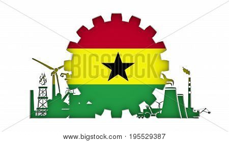 Energy and Power icons set with flag of the Ghana. Sustainable energy generation and heavy industry. 3D rendering.