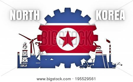 Energy and Power icons set with flag of the North Korea. Sustainable energy generation and heavy industry. 3D rendering.