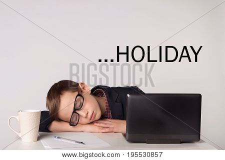 Businessman Child Get Tired And Fell Asleep