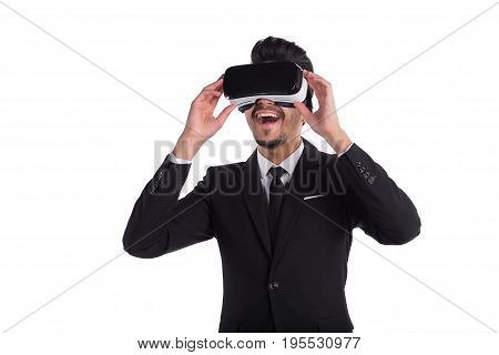 Male Person In Suit And Virtual Reality Glasses