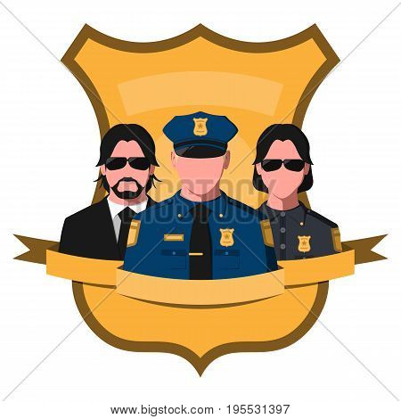 Flat avatar of police team. Emblem with silhouettes of policeman, sheriff and detective on a badge background. Vector illustration of police officers.