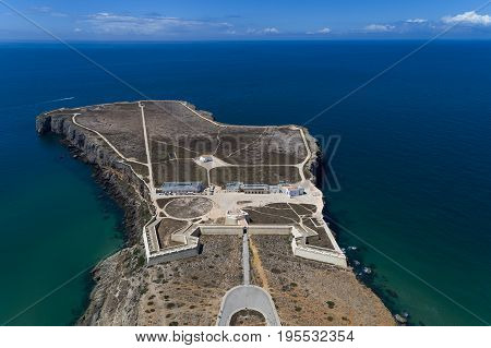 Aerial view of the Sagres Fortress at the Sagres Point in Algarve Portugal
