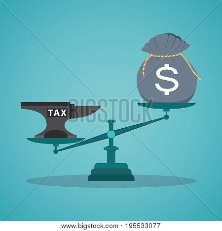 Business concept balancing with income and tax.