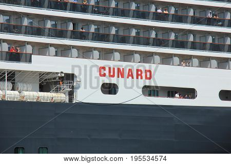 IJmuiden The Netherlands - June 5th 2017: Queen Victoria Cunard on North Sea Channel detail of ship
