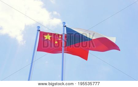 Czech Republic and China, two flags waving against blue sky. 3d image