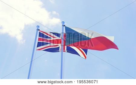 Czech Republic and Great Britain, two flags waving against blue sky. 3d image