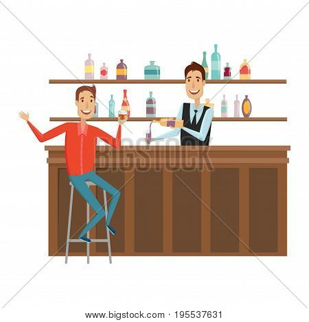 Meet and discuss at the bar with good friends. Flat and cartoon style. White background. Vector