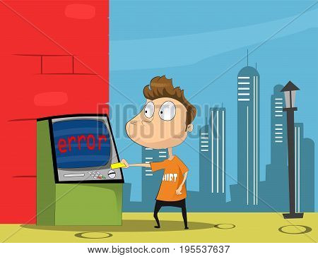 Guy with credit card. Transaction denied. Locked bank card. Cartoon vector illustration
