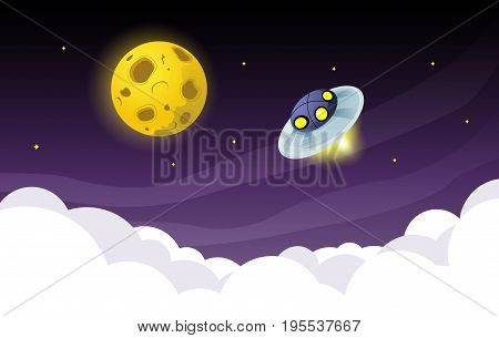 Ufo spaceship flying over the sky to the moon. Vector illustration.