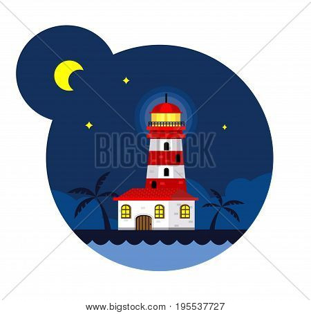 Lighthouse in the night. Tropical vector background. Beacon for navigation illustration