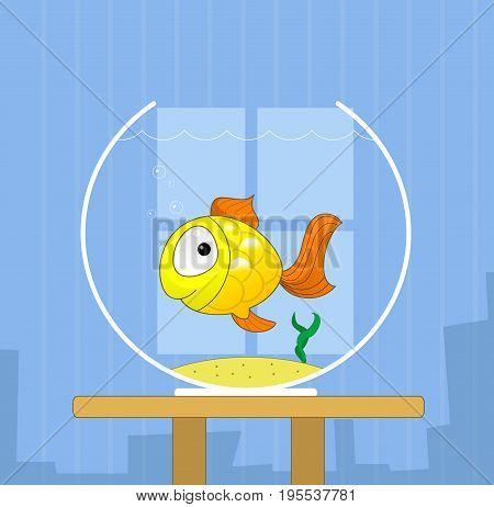 Cartoon cute golden fish in bowl. Vector illustration