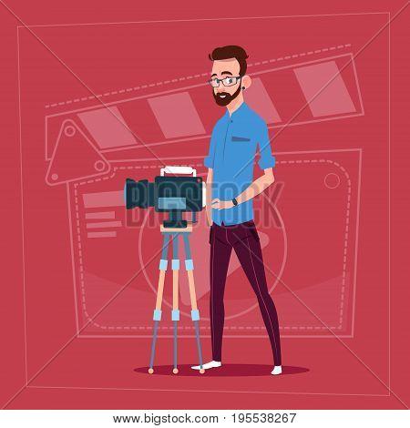 Man Holding Camera On Tripod Modern Video Blogger Filming Popular Vlog Flat Vector Illustration