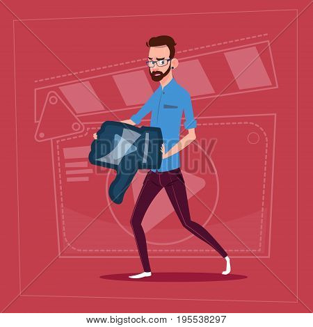 Man Hold Thumb Down Modern Video Blogger Vlog Creator Channel Dislike Flat Vector Illustration