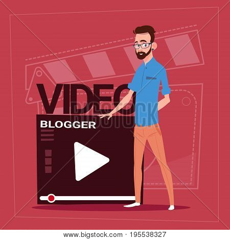 Man Over Vlogger Channel Screen Modern Video Blogger Vlog Creator Flat Vector Illustration