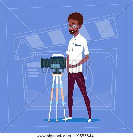 African American Man Holding Camera On Tripod Modern Video Blogger Filming Popular Vlog Flat Vector Illustration