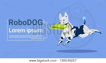 Robotic Dog Hold Credit Card Mobile Payment For Online Shopping Animal Modern Robot Pet Artificial Intelligence Technology Flat Vector Illustration