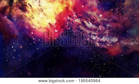 Cosmic space and stars, color cosmic abstract background. Graphic effect