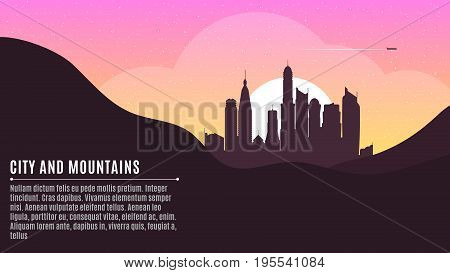 Sunrise in the metropolis. Morning city. Big skyscrapers. A place for your project. Morning starry sky. Hilly dark mountains. Purple Sunrise. Vector illustration