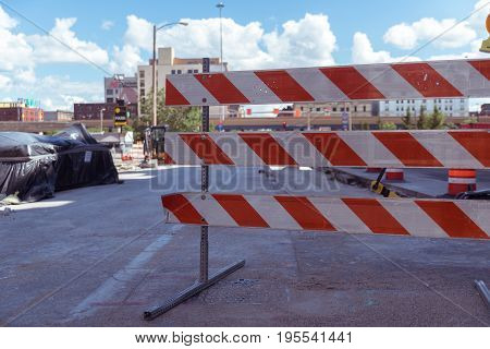Big road construction block sign on a street