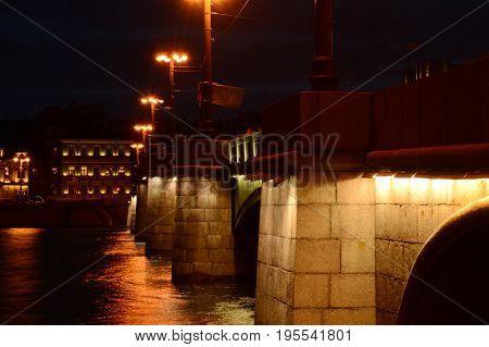 Sampsonievsky bridge, Saint-Petersburg, Russia,Neva river, summer 2017.