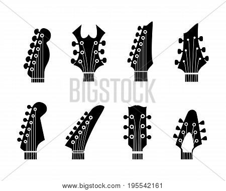 vector silhouettes of the guitar neck on a white background