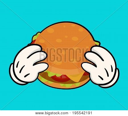 Isolated vector illustration of delicious burger  with meat, cheese, tomatoes and salat and holding hands. Image for print and web design. Cartoon style on white background