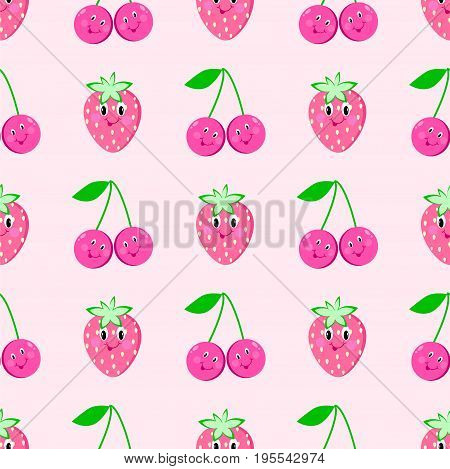Strawberry cherry cartoon seamless pattern   eye, cute, smile, paper, packaging, sweet, delicious, cutie