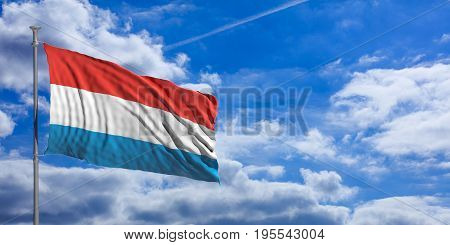 Luxembourg Waving Flag On Blue Sky. 3D Illustration