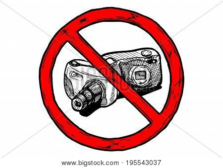 No photography sign. Vector hand drawn illustration in vintage engraved style. isolated on white background.
