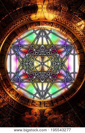 Light merkaba and ancient Mayan Calendar on abstract background. Sacred geometry