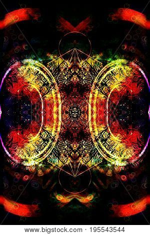 Merkaba on abstract color backgroundand light effect. Sacred geometry