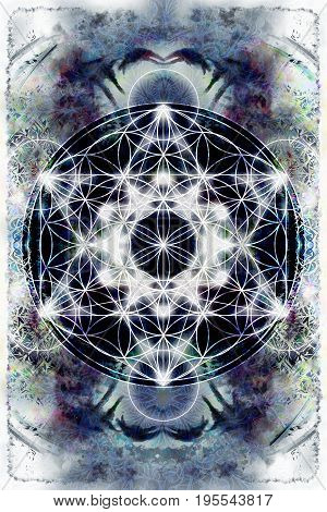 Light merkaba and Flower of life on abstract color background. Sacred geometry
