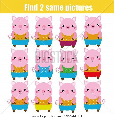 Find the same pictures children educational game. Find equal pairs of pigs kids activity. Animals theme