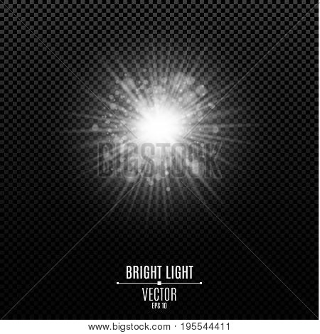 Bright white flash of light. The white radiant star. Abstract festive glowing lights isolated. Glare bokeh. Vector illustration