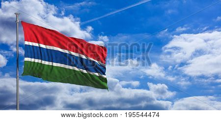 Gambia Waving Flag On Blue Sky. 3D Illustration
