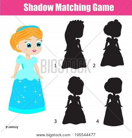 Shadow matching game for children. Find the right shadow. Activity for preschool kids. Beautiful princess character