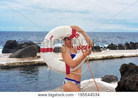 Young Woman Near To Madeira's Ocean Coast