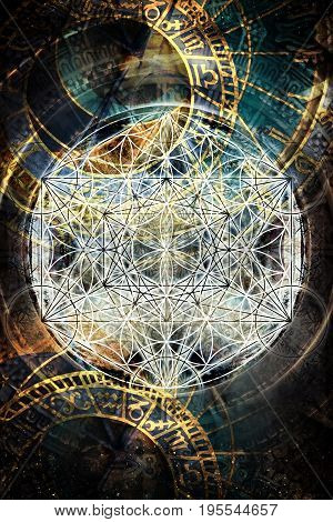 Light merkaba and flower of life and zodiac in cosmic space. Sacred geometry