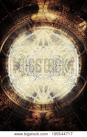 Light merkaba and ancient Mayan Calendar in cosmic space. Sacred geometry