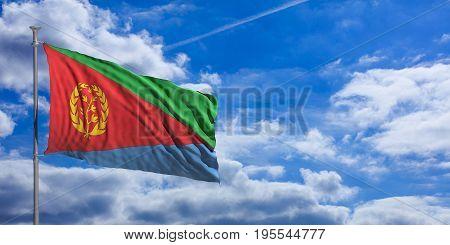 Eritrea Waving Flag On Blue Sky. 3D Illustration